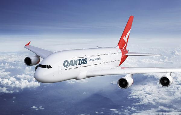 airbus a380 qantas 3d max