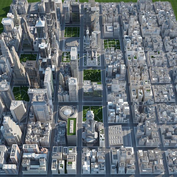 - big city scene 3d model