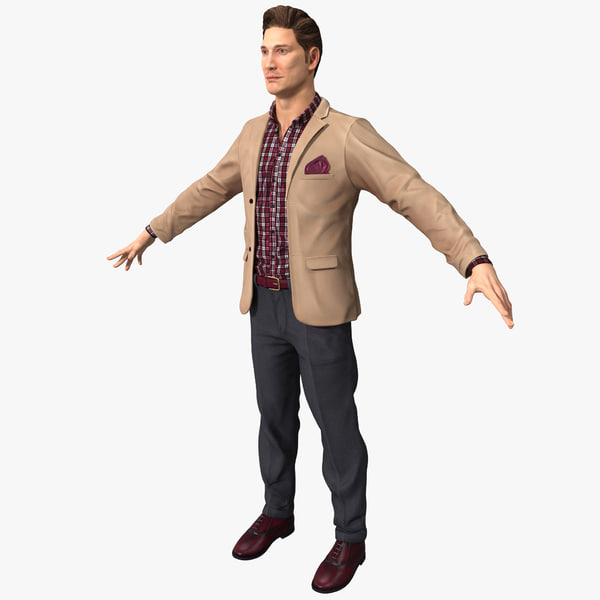 man work casual clothes 3d model