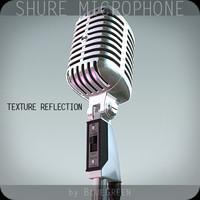 shure 55sh microphone 3d model