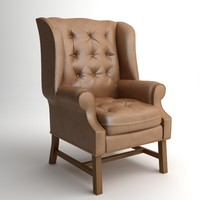 classical wingback armchair 3d model