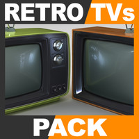 retro style television sets 3d model