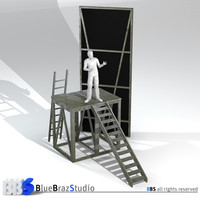 theatre ladders scene 3d model