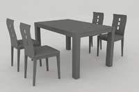 dining set table chairs 3d model