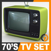 retro style 70 television set 3d model