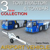 vehicle airport tow tractor 3d model