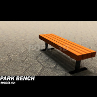 wooden park bench 3d 3ds
