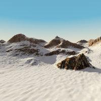 snowy terrain landscape scene 3d model