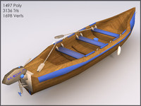 Wooden Blue Boat, Low Poly