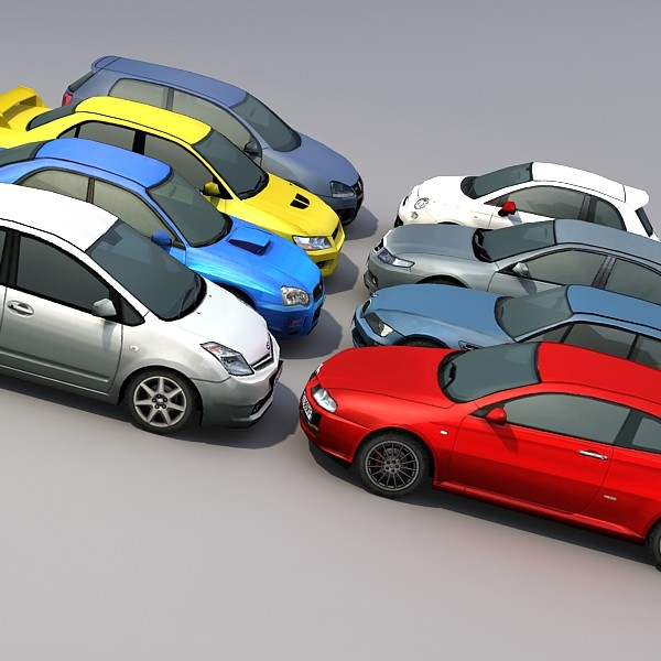 8 low poly cars collection
