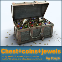 3d model treasure chest gold coins