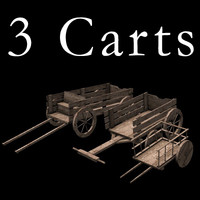 3 Low Poly Carts