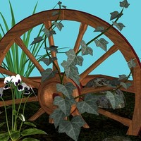 rock plants wagon wheel obj