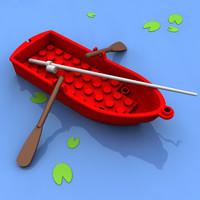legoboat oars lilys 3d model