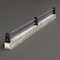 road fence guardrails - 3d max
