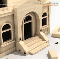 3d wooden toy house model