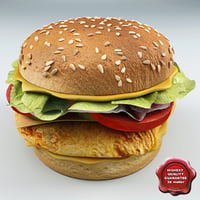 chicken sandwich 3d model
