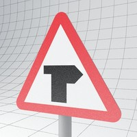 3d model of traffic junction ahead right
