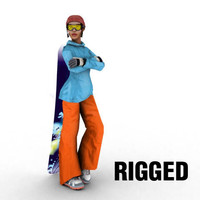 3d low-poly snowboard girl model