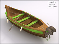 Wooden Green Boat, Low Poly