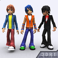 3d 3ds umi anime boys characters rigged