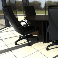 office table chairs 3d model
