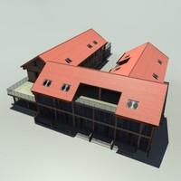 big hotel building 3d model