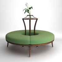 3d modern bench flowers model