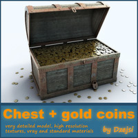 3d treasure chest gold coins