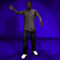 black male 1 body character 3d x
