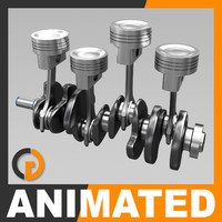 animation engine cylinders 3d model