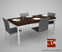 dinning table chairs settings 3d max
