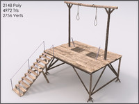 Gallows, Low Poly, Textured