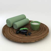 3D Model Massage Spa Stone Oil Towel Set