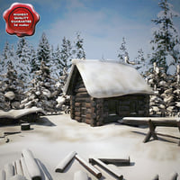3d model old snow covered wood