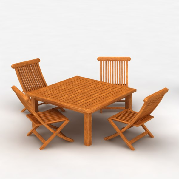 3d model of cedar outdoor furniture set. Black Bedroom Furniture Sets. Home Design Ideas