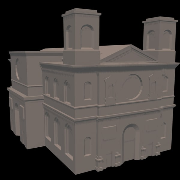 3dsmax church polys resolution - Church Low Poly High resolution textures... by InfinityStudio