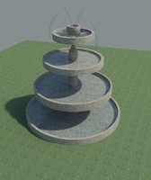 stone fountain water 3d model