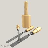 3d model chisels mallet