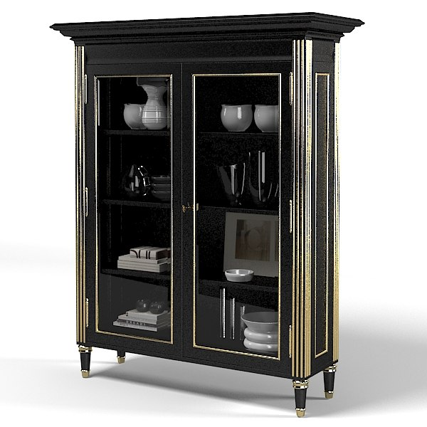 Noble Estate Ebonized Bookcase cupboard armoire sideboard storage showcase.jpg