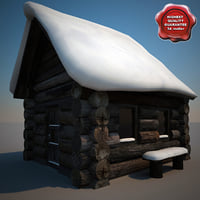3d old snow covered wood model