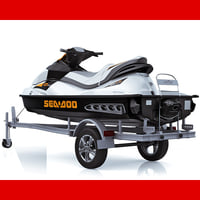 3d model trailer jet ski sea doo