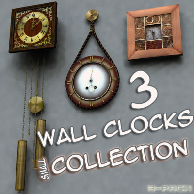 wall clocks - obj - Clock - Wall Clocks Collection (3-Pack)... by masterFlamaster