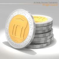 3d model symbolic euro coins