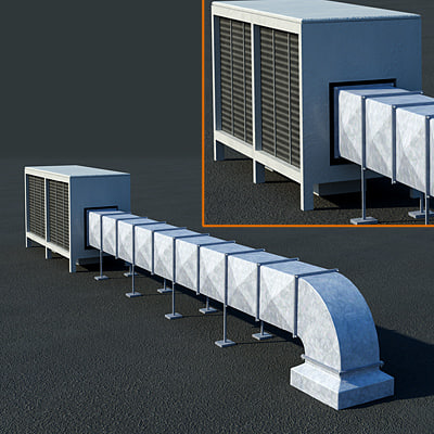 3d ventilation ducts rooftop vent model - Rooftop ventilation duct... by Line 79