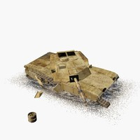 3d model damaged m1 abrams tank
