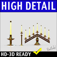 Brass Candelabra 3D Model Collection