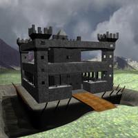 3d model medieval castle landscape