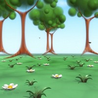 cute cartoon trees forest 3d max