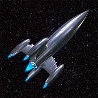 classic silver rocket ship 3d max